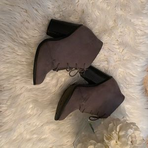 Call it spring grey suede ankle booties